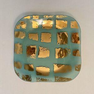 "Annieglass Aquaverde Plate Platter Signed 10 3/4"""