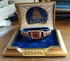 New NOS Antique Vintage  BULOVA CONRAD 21j Pink Gold GF Wrist Watch & Box