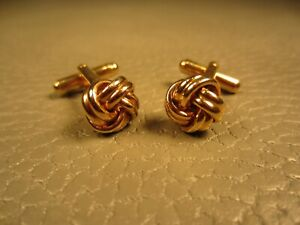 Contemporary Classic Love Knot Yellow Gold Plated Cuff Links