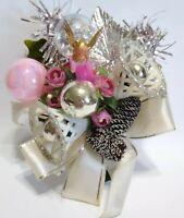 Vintage Christmas Corsage PINK ANGEL Mercury Glass Filigree Bells package tie