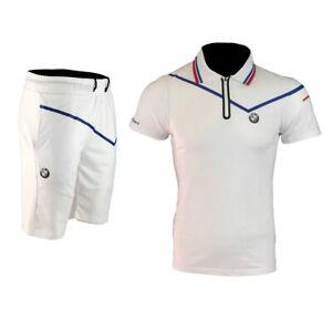 tenues homme Polo et short ensemble homme blanc logo BMW AJ217