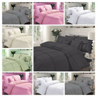 Pintuck Pleated Quilt Duvet Cover Bedding Set Single Double King & Pillowcases