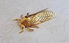 (1) - Gorat4931 Jewelry Finding X-Large Matte Gold Ox Cicada Stamping