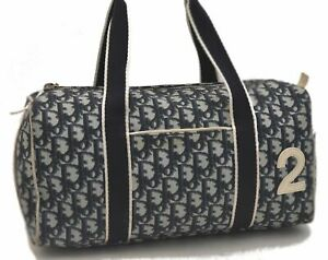 Authentic Christian Dior Trotter Boston Hand Bag PVC Enamel Blue Navy C3410