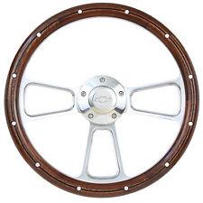 Camaro Wood & Chrome Steering Wheel, Chevy Horn & Billet Adapter Full Kit