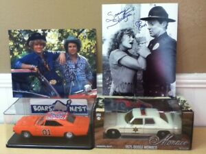 3 AUTOGRAPHS Dukes of Hazzard 1/25 1/24 General Lee Sheriff Diecast Car Case LOT