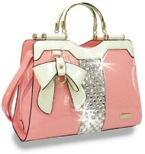 Bling Embossed Pink Patent Bow Accent Handbag Attachable Strap