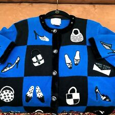Just B Cardigan Blue Sweater Embellished Handbags & Shoes Button Up  M