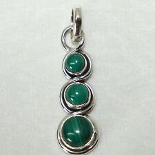 Malachit Anhänger Silber 925 Kettenanhänger Sterlingsilber Grün 3s ts