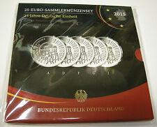 BRD DEUTSCHLAND 5 x 25 EURO SILBER GEDENKMÜNZENSET 2015 DEUTSCHE EINHEIT A-J PP