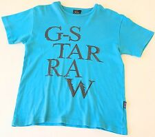 Boys Turquoise Blue G-Star Raw Original T Shirt 9-10 years Top Kids Jeans Bright
