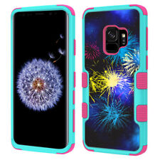 3-Layer Phone Case (Teal/Pink) for Samsung Galaxy S9 - Fireworks
