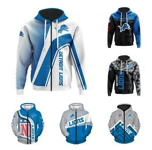 Detroit Lions Fans Hoodie Football Zippered Sweatshirt Jacket Sportwear Gift