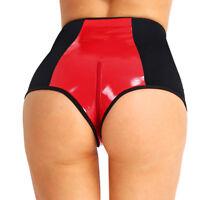 Women Wetlook Faux Leather High Waist Underwear Lingerie Knickers Briefs Costume