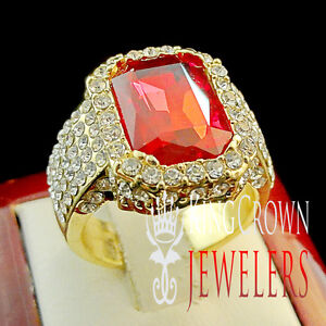 Mens 2 Chainz Emerald Cut Simulated Red Ruby Solitaire Rapper Pinky Ring Band