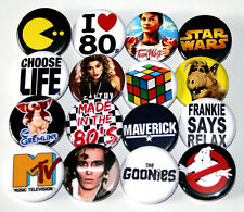 EIGHTIES 1980s PARTY BADGES Set of 16 Buttons Pins Lot