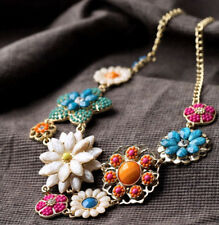 New Design Women Gold Gorgeous Bib Crystal Colorful Flower Necklace Collar P10