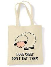 LOVE SHEEP DON'T EAT THEM SHOULDER  TOTE BAG - Vegan Veggie Vegetarian