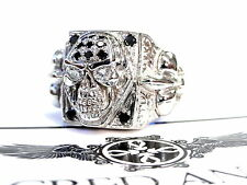 Men's 14K Gold Skull Fleur De Lis Ring With Black And White Diamonds