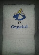 CUSTOM - PERSONALIZE ALICE IN WONDERLAND EMBROIDERED WHITE BATH TOWEL