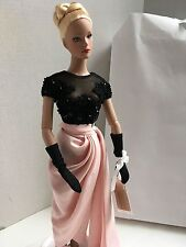 "TONNER 16"" Vinyl Doll Blonde Dressed in Pink & Black Gown, Gloves, Shoes & Stand"