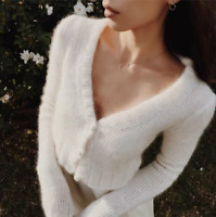 Fashion Womens Sexy V-neck Mohair Cardigan Crop Tops Soft Sweaters Boutique Tops