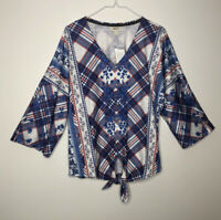 Style Co Medium Blouse Shirt Women's Blue Red White Plaid Long Sleeve V-Neck Top