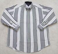 Tommy Hilfiger White Dress Shirt Long Sleeve Striped Pocket Large Mens Mans 1-94