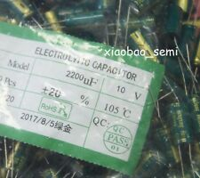 100PCS 2200uF 10V Electrolytic Capacitor 105°C 10x20mm