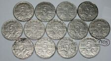 Canada 1922 to 1936 5 Cents George V Canadian Nickels 13 coins Lot #K05