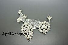 Vintage Cristobal London clear crystal faux pearl glass Poodle Dog large brooch