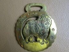 """""""Chow Chow"""" Dog Breed """"P"""" Engraved Horse Brass Harness Bridle Medallion, 3-1/4""""x"""