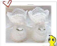 Baby Infant Girls Christening White shower party crochet knitting shoes gift