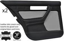 Black & Grey Cuir Arrière 2X porte complète Carte Cover Pour BMW Série 5 E34 87-97