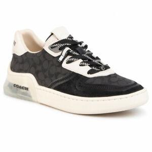 Coach Women Lace Up Sneakers Citysole Sig Court Size US 9B Black Chalk Leather