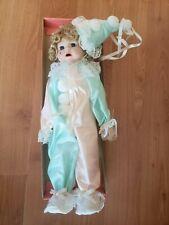 New Vintage Brinn's Collectible Doll Teardrop Clown Peach Green. Nck 2264 Nib.