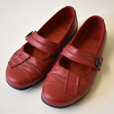 Homy Ped Comfort Dark Red Leather Mary Jane Flats Size 7.5 7 1/2 homyped