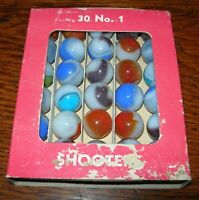 Vintage Vitro Agate Co. 30 No. 1 Shooter Marble Box (w/ 30 Marbles)