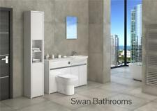 WHITE / WHITE GLOSS BATHROOM FITTED FURNITURE WITH TALL UNIT 1700MM