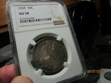 1858 SEATED LIBERTY HALF DOLLAR  NGC  AU-58  AN ORIGINAL COIN THATS OUTSTANDING