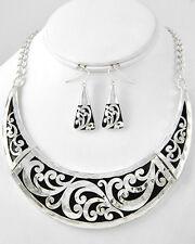 Cowgirl Bling Shiny Silver Engraved Metal Swirls Bib Necklace Set