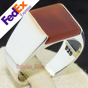 Solid 925 Sterling Silver Red Agate Stone Turkish Handmade Men's Ring All Sizes