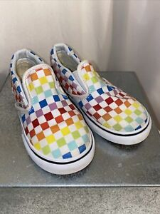 VANS CLASSIC SLIP ON GIRLS Rainbow Squares SKATEBOARD SHOES TODDLER SIZE 9T