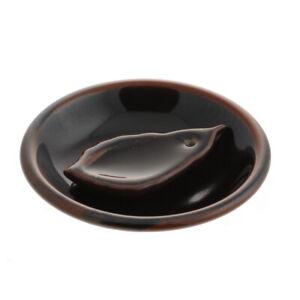Japanese Stick Incense Burner Stand Holder Bowl Ceramic Brown Tenmoku Leaf Plate