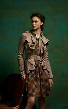 Anthropologie Elevenses Femme Trench Ruffle Front Belted Jacket Taupe Sz 0  $188