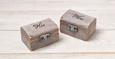 His and Hers Ring Bearer Boxes, Ring Holder, Wedding Ring Bearer Pillow Box