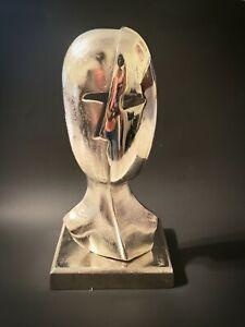 Silver Metal Face Modern Sculpture