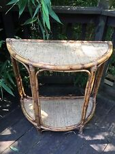 Vintage Hall Table Demilune Pier 1 Chinoiserie Bamboo Rattan Wicker