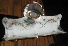 antique Dresden Porcelain Ink Pen Desk Tray & Inkwell Rk Germany Flower Swags !