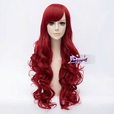 80CM Red Long Curly Wig for Poison Ivy Lolita Hair Anime Synthetic Cosplay Wig